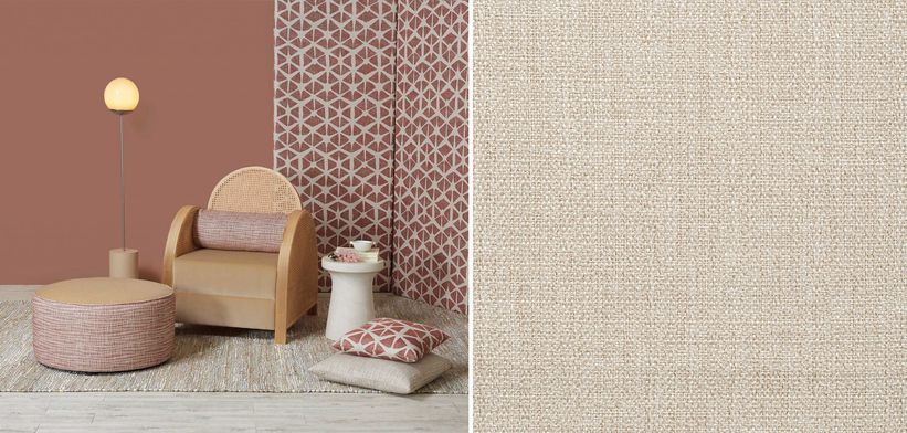 Rattan, chunky weave fabrics, corded rugs and sand coloured shades will add understated romance. Image: Akari Collection, and Luke in colour Shell, Zepel.