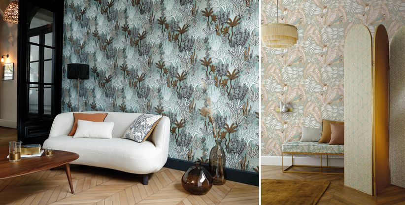 Replacing wall colour with animated and striking wallpaper designs will add to a dynamic aesthetic. Image: Posidonie and Sibia, wallpaper by Casamance