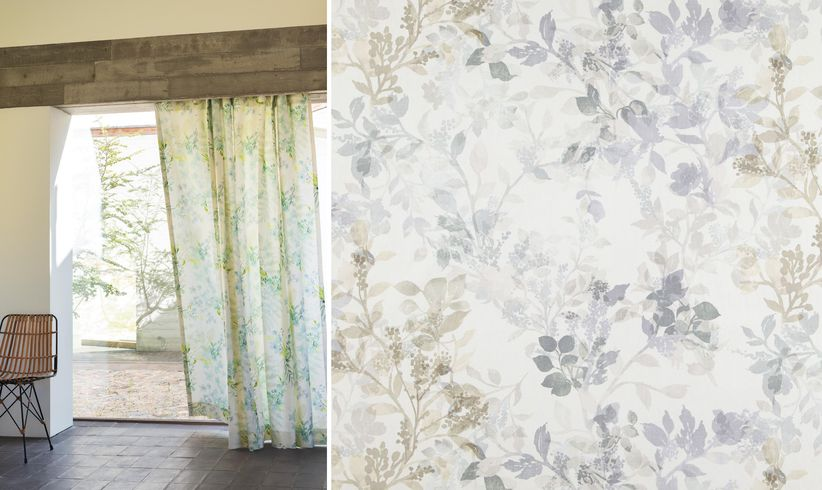 Poetic floral motifs will create delicate interest around a windows' edge and classically celebrates spring. Image: Plumeria and Protea, Zepel
