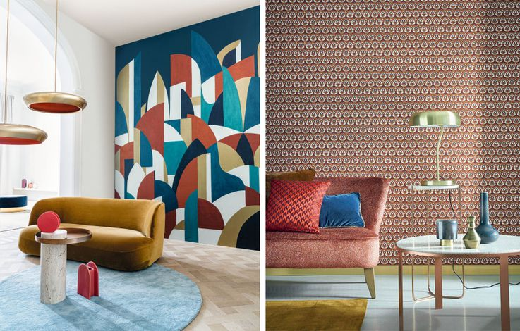 Pablo and Gemmail by Casamance taking cues from Cubism and motif patterning from 50s wallpaper