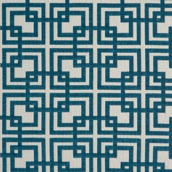 Photo of the fabric Network (Metropolitan) Aqua swatch by Zepel. Use for Curtains, Upholstery Medium Duty, Accessory, Top of Bed. Style of Geometric, Pattern