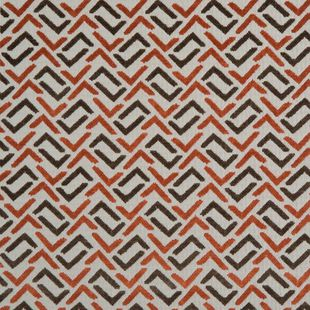 Photo of the fabric Gridlock Burnt Orange swatch by Zepel. Use for Drapery, Upholstery Medium Duty, Accessory, Top of Bed. Style of Geometric, Pattern