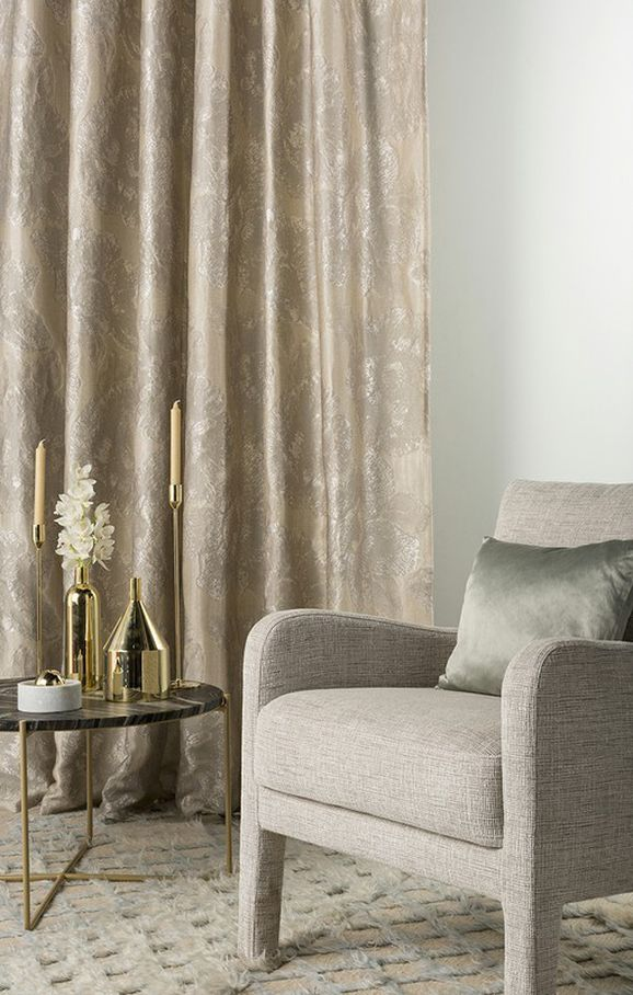 Photo of the fabric Caledonia Antique Gold in situ by Mokum. Use for Drapery, Accessory. Style of Abstract, Decorative, Floral And Botannical, Pattern