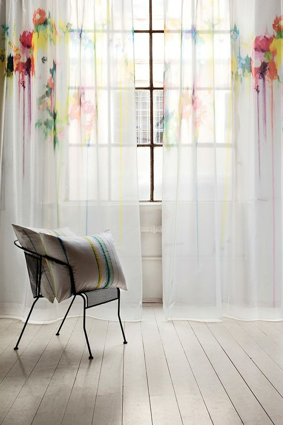 Photo of the fabric Masterpiece 14457 * 703 in situ by Christian Fischbacher. Use for Sheer Curtains. Style of Floral And Botannical, Pattern, Sheer