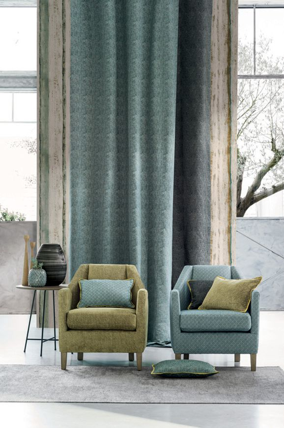 Photo of the fabric Amboine 3921 3921 01 46 in situ by Casamance. Use for Curtains, Upholstery Heavy Duty, Accessory, Top of Bed. Style of Abstract, Pattern, Texture