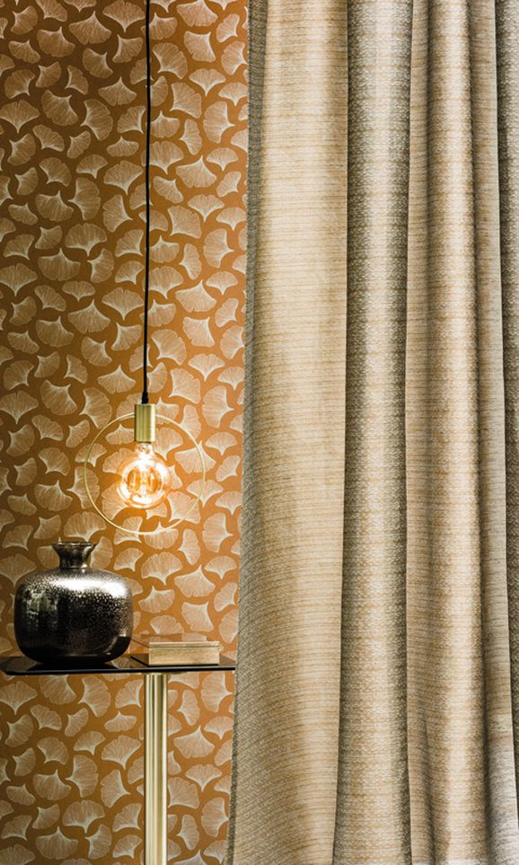 Photo of the fabric Ginkgo Wallpaper 7397/A7397 7397 01 21 in situ by Casamance. Use for Wall Covering. Style of Decorative, Pattern