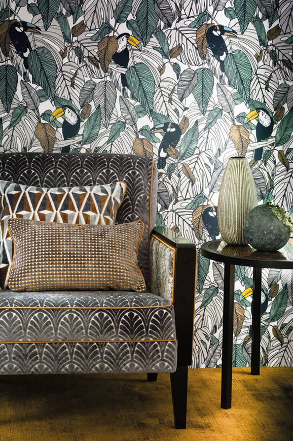Photo of the fabric Toucan Wallpaper 7395 7395 02 35 in situ by Casamance. Use for Wall Covering. Style of Decorative, Pattern