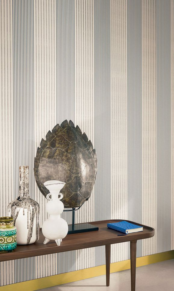 Photo of the fabric Filbert Wallpaper 7401 7401 01 66 in situ by Casamance. Use for Wall Covering. Style of Pattern, Stripe