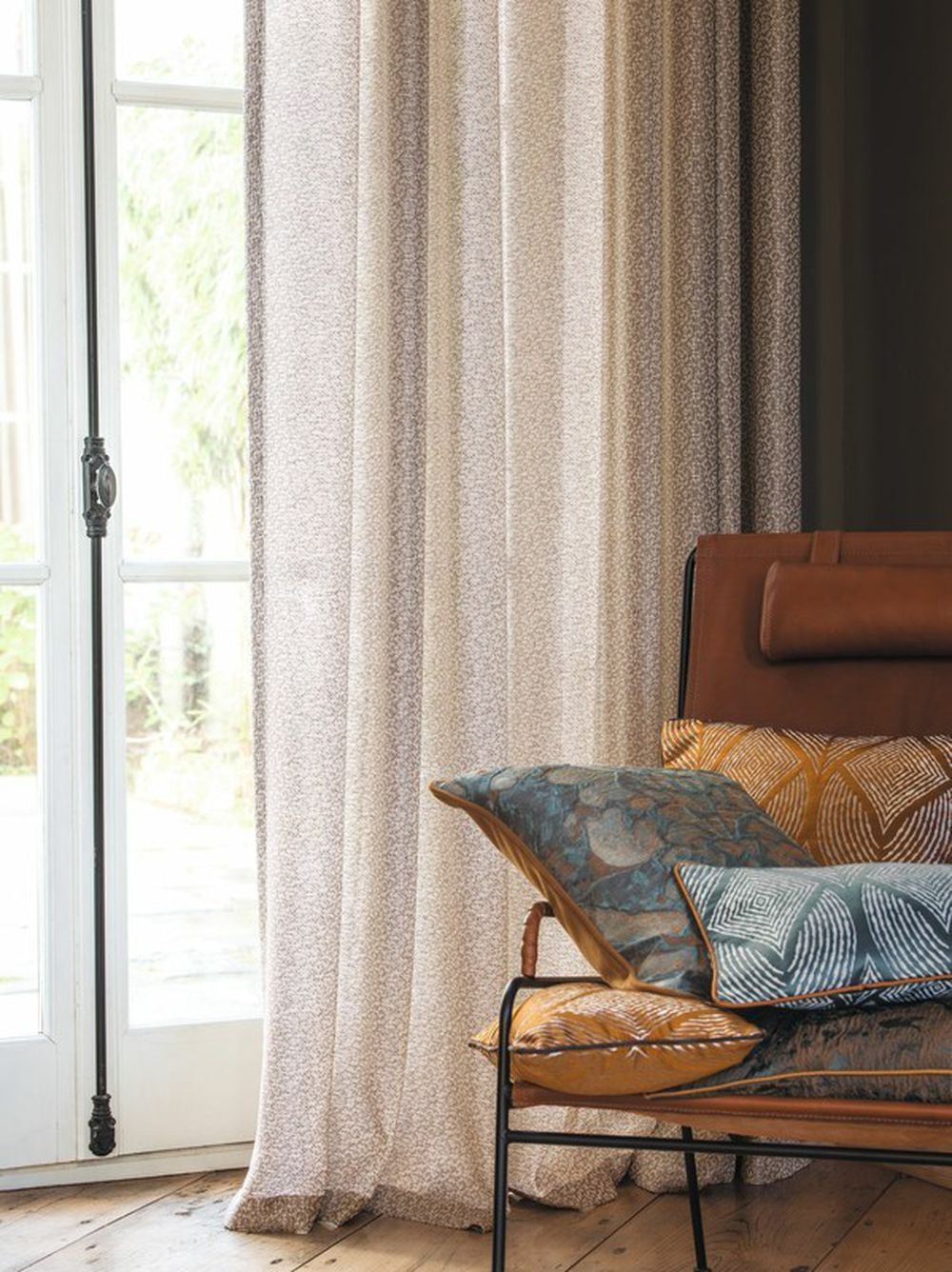 Photo of the fabric Tocade 4083/A4083* 4083 03 25 in situ by Casamance. Use for Sheer Curtains. Style of Plain, Sheer