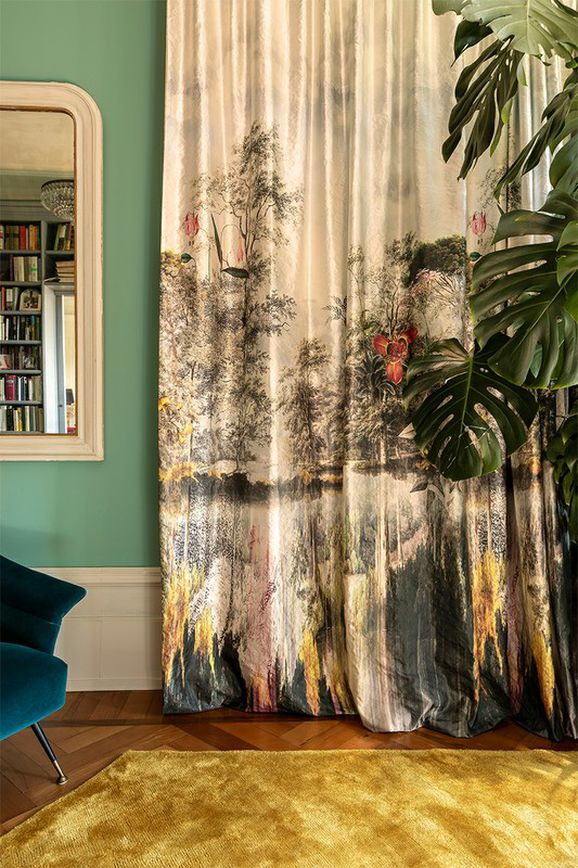 Photo of the fabric Newtopia 14599 * 904 in situ by Christian Fischbacher. Use for Curtains. Style of Decorative, Floral And Botannical, Pattern, Tropical