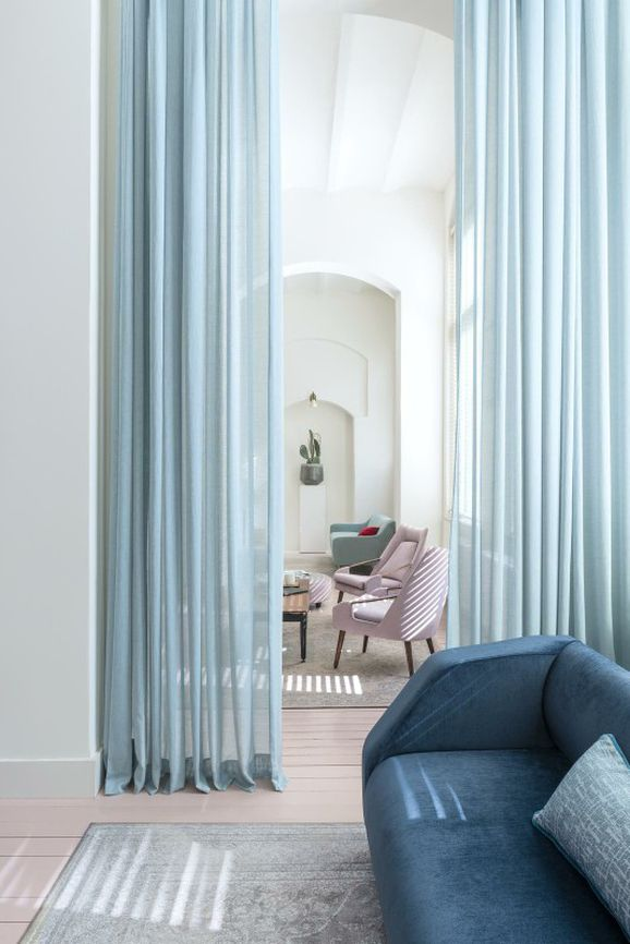 Photo of the fabric Lighten Ocean in situ by FR-One. Use for Sheer Curtains. Style of Plain, Sheer, Texture
