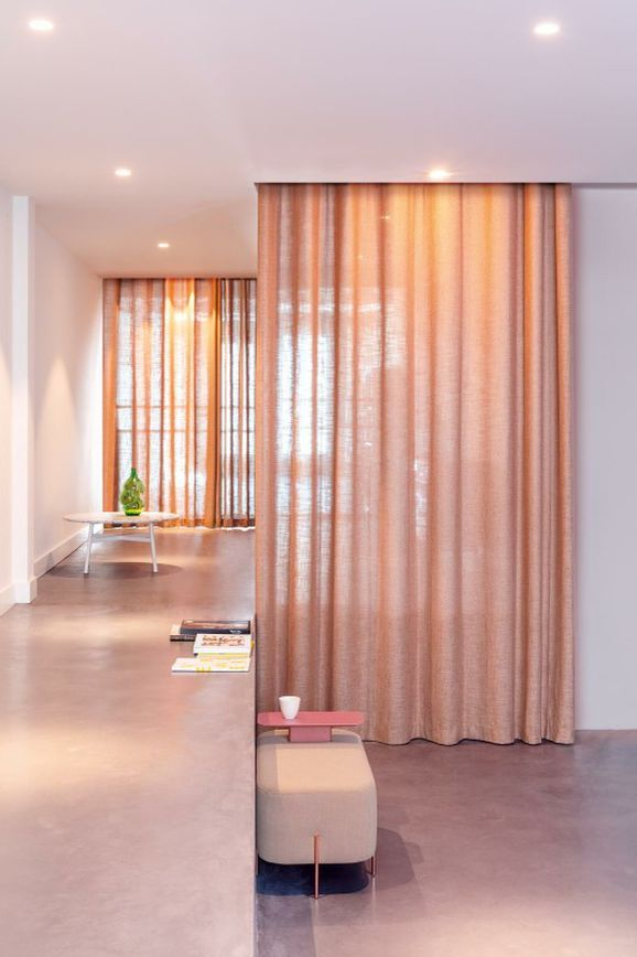 Photo of the fabric Motion Aluminium in situ by Zepel. Use for Sheer Curtains. Style of Plain, Sheer, Texture