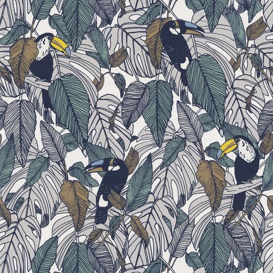Photo of the fabric Toucan Wallpaper 7395 7395 01 33 swatch by Casamance. Use for Wall Covering. Style of Decorative, Pattern