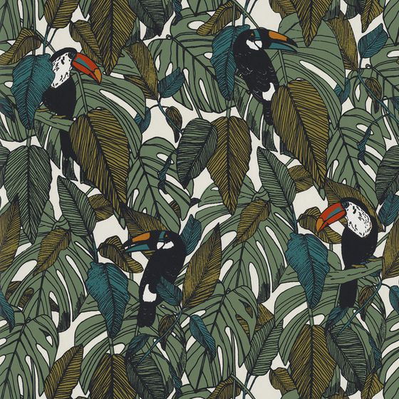 Photo of the fabric Toucan Wallpaper 7395 7395 02 35 swatch by Casamance. Use for Wall Covering. Style of Decorative, Pattern