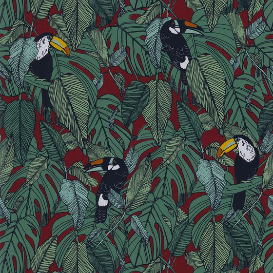 Photo of the fabric Toucan Wallpaper 7395 7395 03 37 swatch by Casamance. Use for Wall Covering. Style of Decorative, Pattern