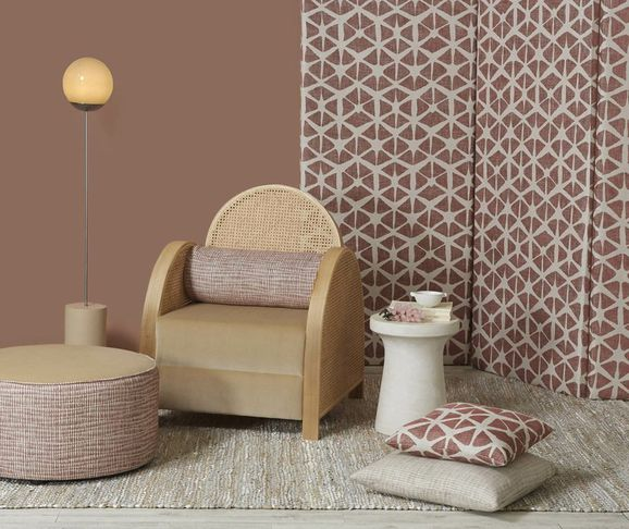 Photo of the fabric Mikko Coral in situ by Zepel. Use for Upholstery Medium Duty, Accessory. Style of Pattern, Stripe, Texture