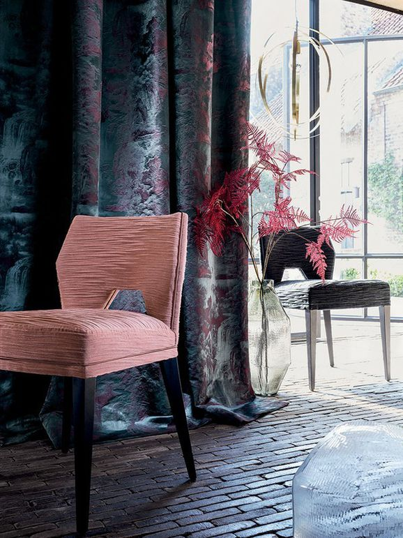 Photo of the fabric Eau Vive 4337 4337 05 56 in situ by Casamance. Use for Curtains, Upholstery Heavy Duty, Accessory. Style of Decorative, Pattern