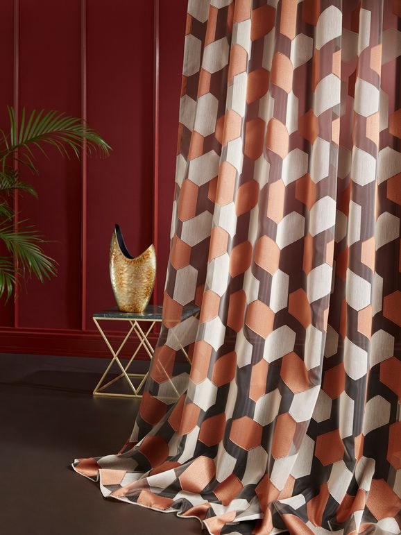 Photo of the fabric Anahi 10804 * 402 in situ by Christian Fischbacher. Use for Sheer Curtains. Style of Decorative, Geometric, Pattern, Sheer