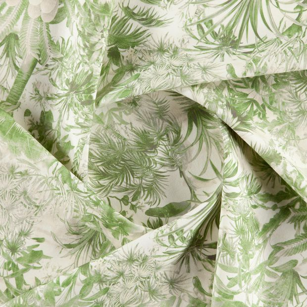 Photo of the fabric Arum Lime swatch by Zepel. Use for Curtains, Upholstery Medium Duty, Accessory, Top of Bed. Style of Floral And Botannical, Pattern, Print