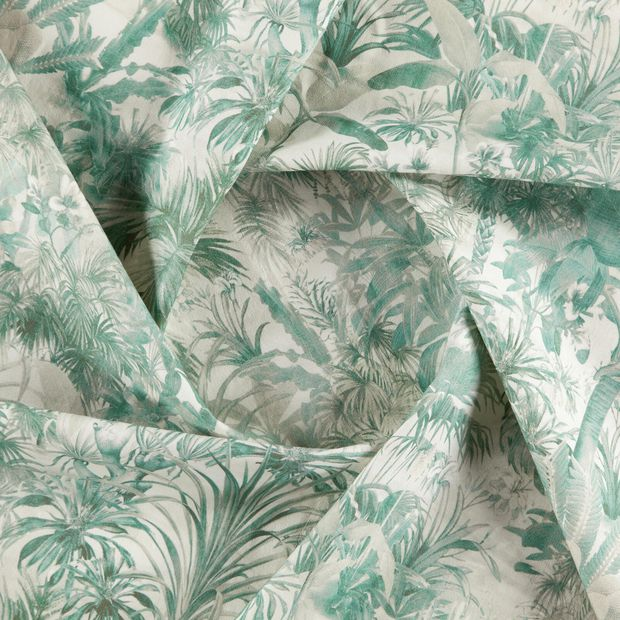 Photo of the fabric Arum Jade swatch by Zepel. Use for Curtains, Upholstery Medium Duty, Accessory, Top of Bed. Style of Floral And Botannical, Pattern, Print