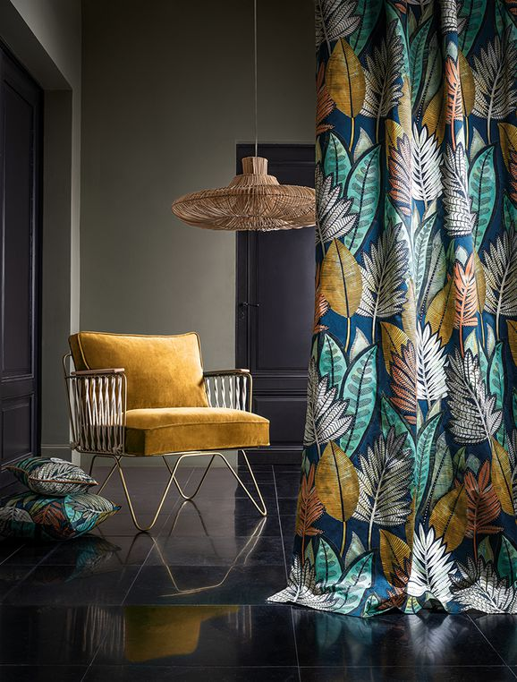 Photo of the fabric Balata 4374 4374 02 49 in situ by Casamance. Use for Curtains, Upholstery Heavy Duty, Accessory. Style of Decorative, Pattern