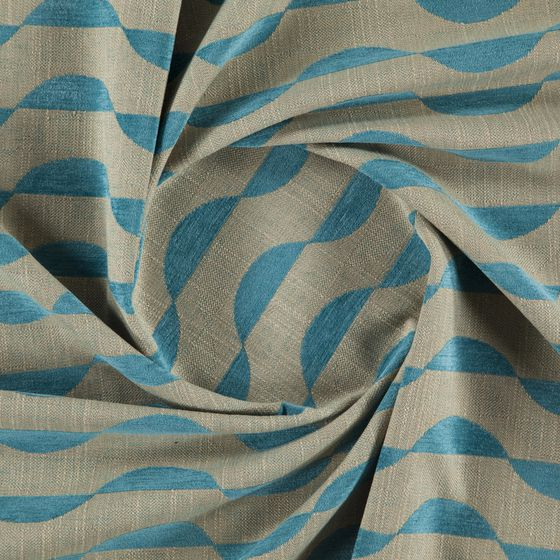 Photo of the fabric Bayfront Azure swatch by Zepel FibreGuard. Use for Curtains, Upholstery Heavy Duty, Accessory, Top of Bed. Style of Decorative, Geometric, Pattern