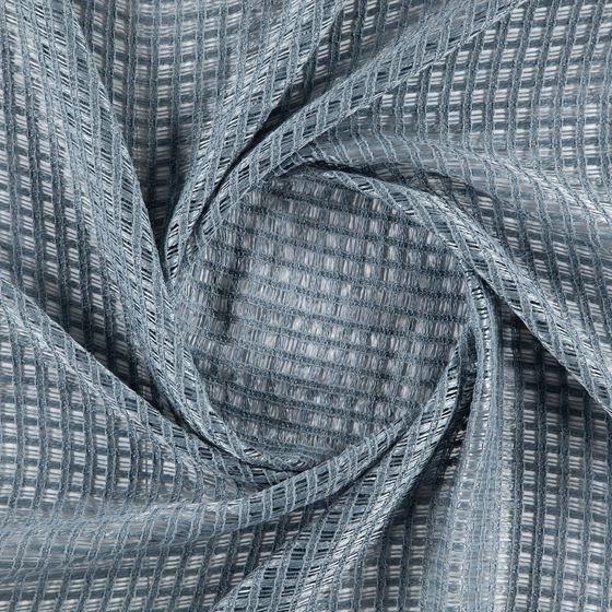 Photo of the fabric Bryce Petrol swatch by Zepel. Use for Sheer Curtains. Style of Checks, Plain, Sheer, Texture