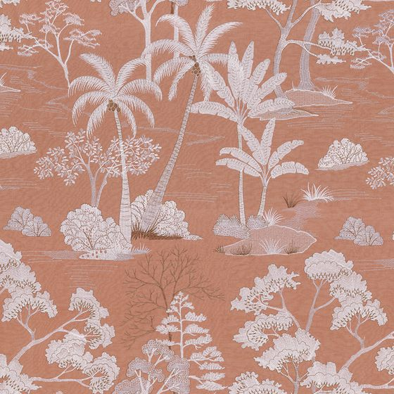 Photo of the fabric Larimar 4377 4377 04 42 swatch by Casamance. Use for Curtains, Accessory. Style of Decorative, Embroidery, Pattern, Texture