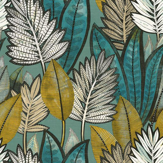 Photo of the fabric Sabal Wallpaper 7468 7468 02 64 swatch by Casamance. Use for Wall Covering. Style of Decorative, Floral And Botannical, Pattern, Texture