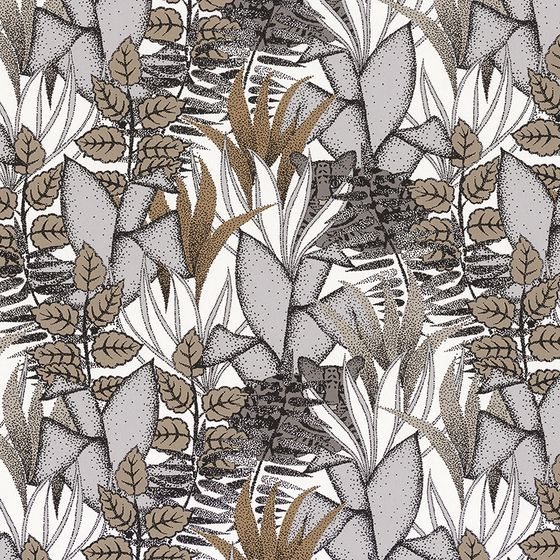 Photo of the fabric Tigris Wallpaper 7473 7473 15 30 swatch by Casamance. Use for Wall Covering. Style of Decorative, Floral And Botannical, Pattern