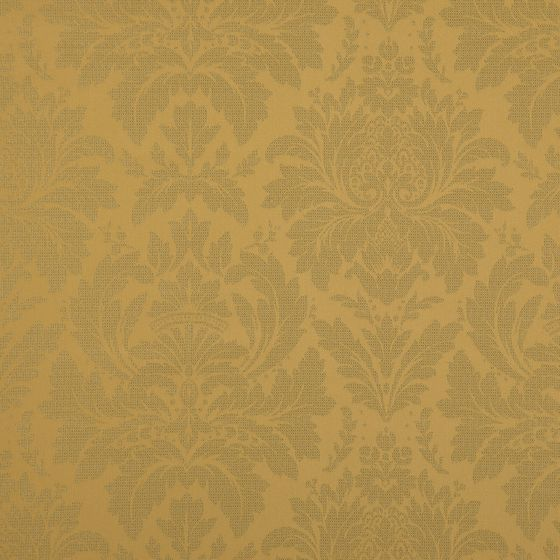 Photo of the fabric Jaborine Gold swatch by FR-One. Use for Curtains. Style of Damask, Decorative, Pattern