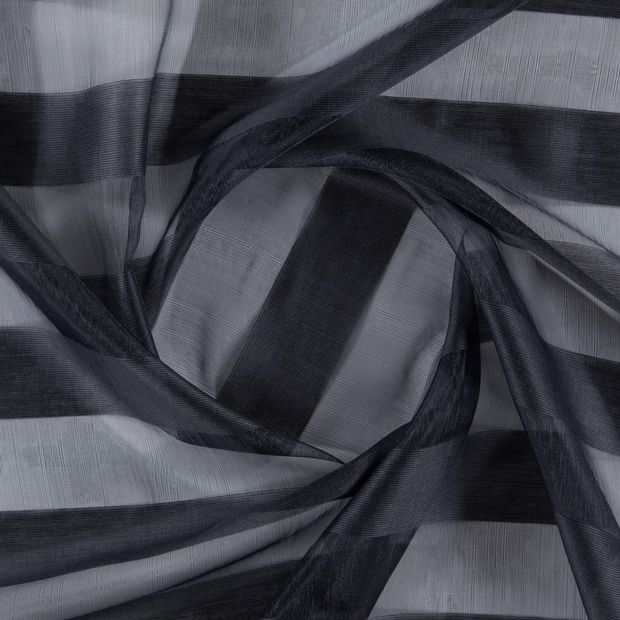 Photo of the fabric Lineal Onyx swatch by FR-One. Use for Sheer Curtains. Style of Pattern, Sheer, Stripe, Traditional