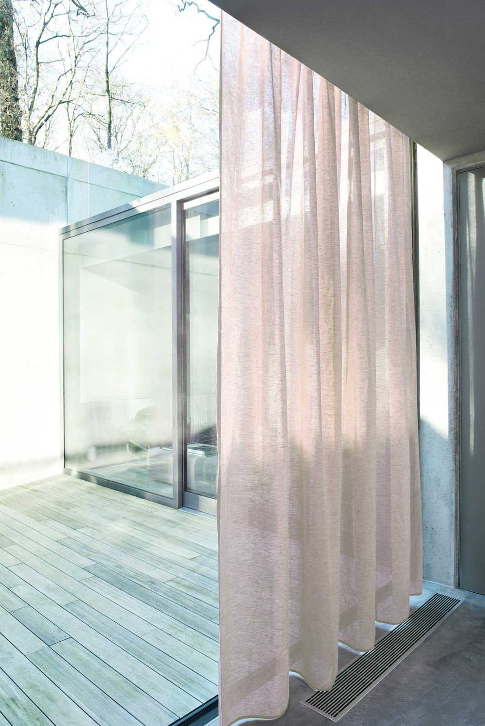 Photo of the fabric Allusion Putty in situ by Zepel. Use for Sheer Curtains. Style of Plain, Sheer