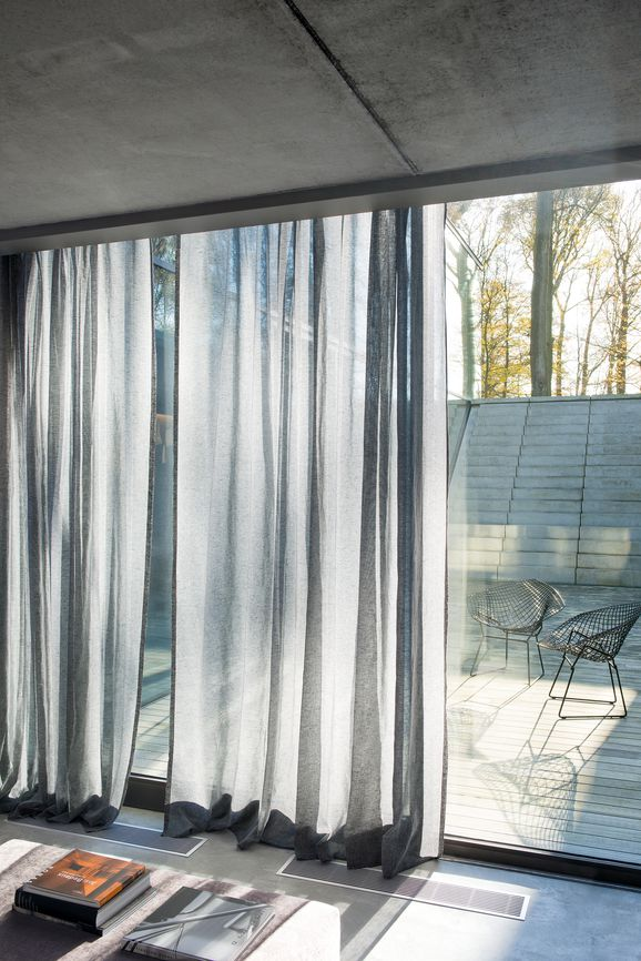 Photo of the fabric Allusion Stucco in situ by Zepel. Use for Sheer Curtains. Style of Plain, Sheer