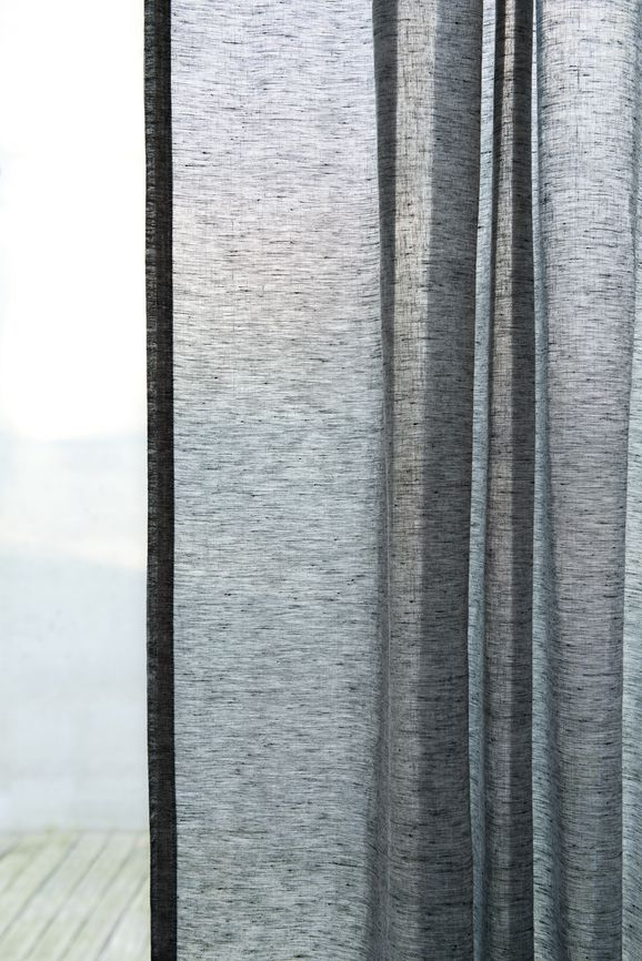 Photo of the fabric Allusion Liquorice in situ by Zepel. Use for Sheer Curtains. Style of Plain, Sheer