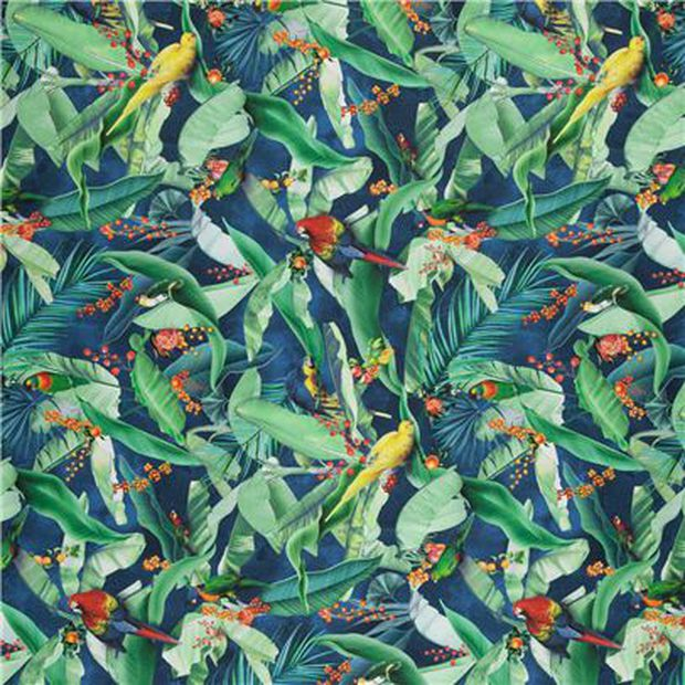 Photo of the fabric Zamiiflora Navy swatch by Zepel. Use for Curtains, Upholstery Medium Duty, Accessory, Top of Bed. Style of Floral And Botannical, Pattern, Print