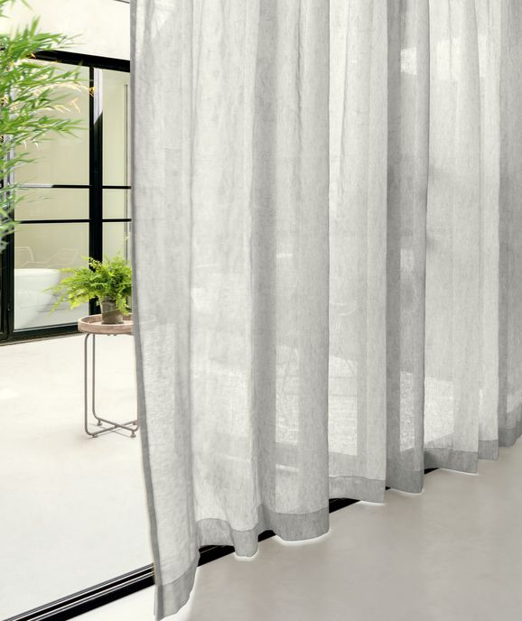 Photo of the fabric Attica Ash in situ by Zepel. Use for Curtains. Style of Plain, Sheer, Texture