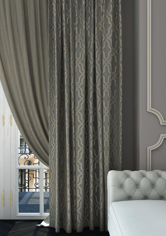 Photo of the fabric Modus Sand in situ by Zepel. Use for Curtains, Accessory, Top of Bed. Style of Decorative, Geometric, Pattern