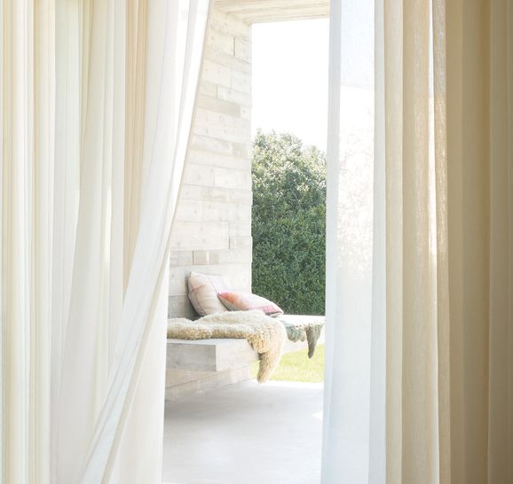 Photo of the fabric Selene Cotton in situ by Zepel. Use for Sheer Curtains. Style of Plain, Sheer, Texture